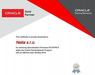 NETIA - certifikát specializace SW Oracle Primavera